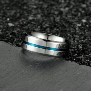 Titanium Stainless Steel Ring with Blue size 8